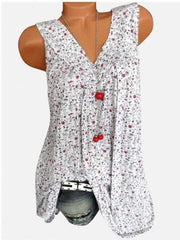 2019 New Summer Fashion Floral Print Deep V-Neck Sleeveless T-Shirt White m  | iluver