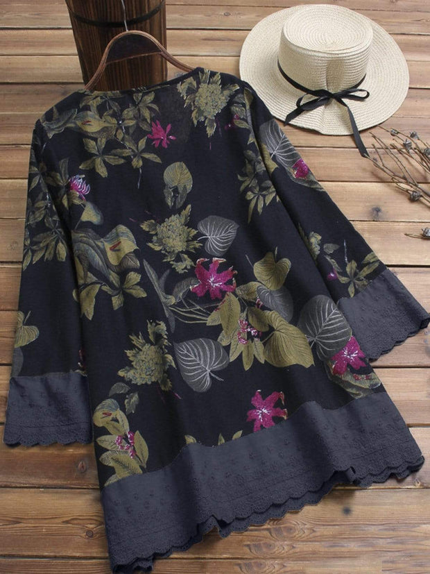Martina™ - Floral Printed V-neck Long Sleeve Shirt
