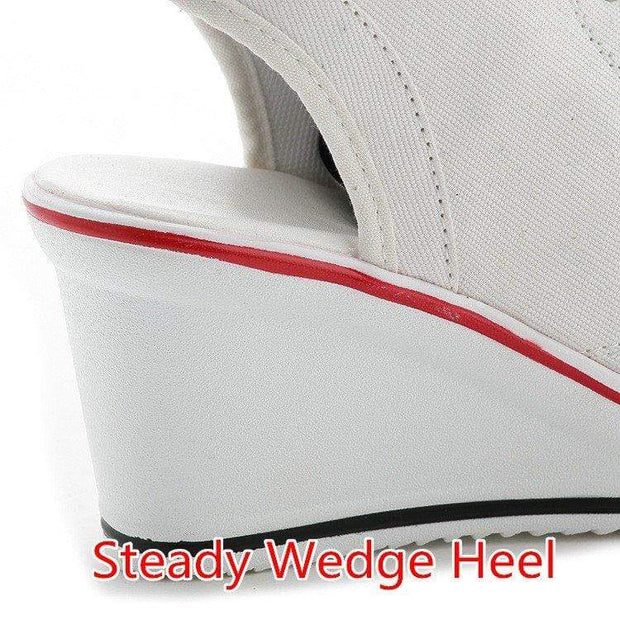Avery™ - Women's Fish Mouth Wedge Slingback Canvas Shoes