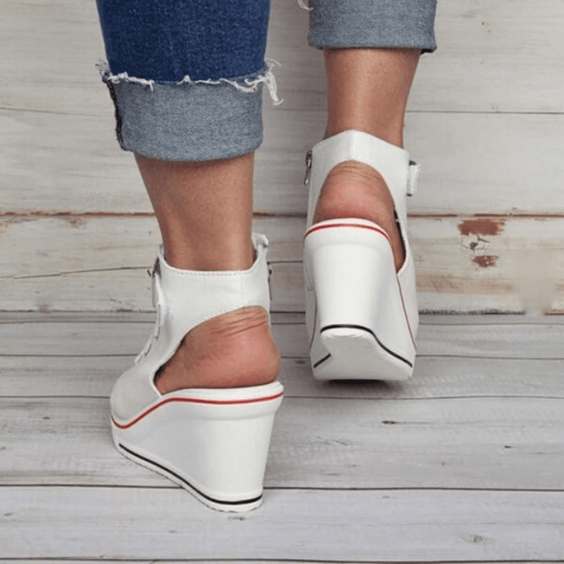 Weronika ™ -Women's Fish Mouth Wedge Slingback Canvas Shoes