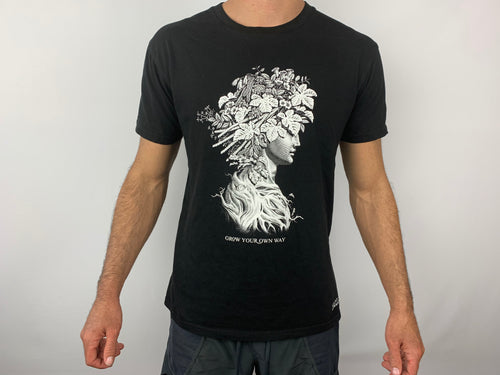 Black Tea shirt with Graphic from Mount Edward Wine. Vancouver Apparel company