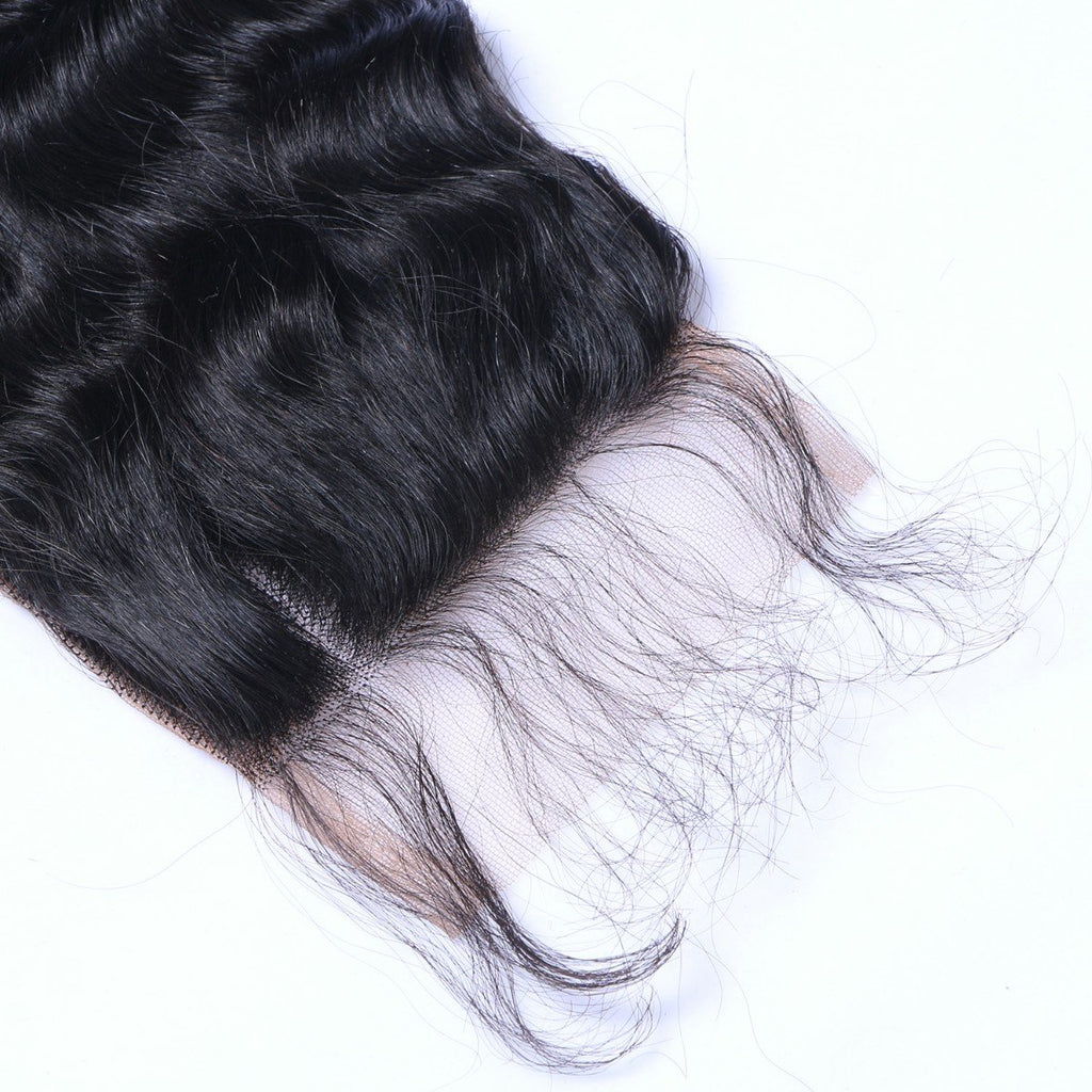 Deep Wave 4*4 Lace Closure Virgin Human Hair Natural Black