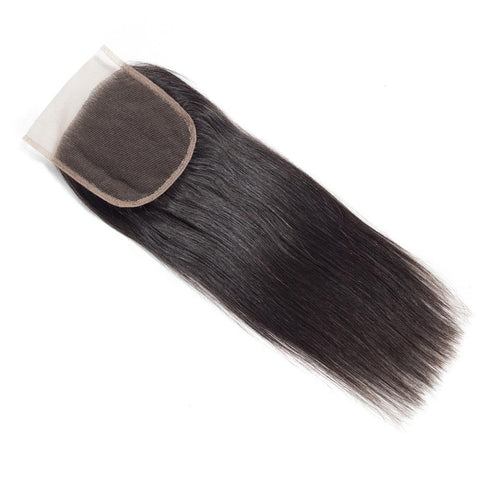 Straight 4*4 Lace Closure Virgin Human Hair Natural Black