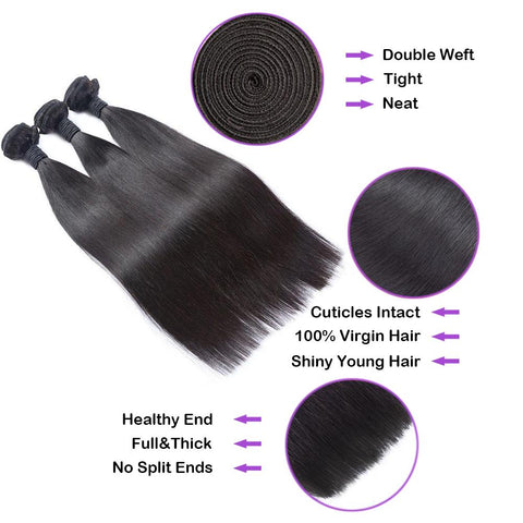 Straight Virgin Human Hair Natural Black Bundles