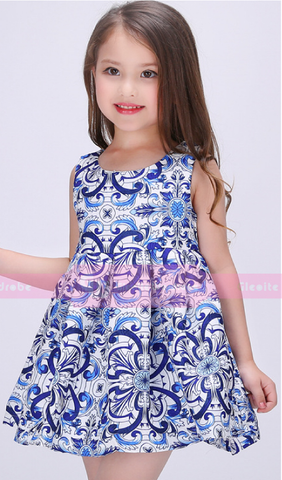Porcelain Print Party Dress