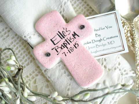 Cross Baptism Favors Set of 6 Personalized Salt Dough Cross Ornaments
