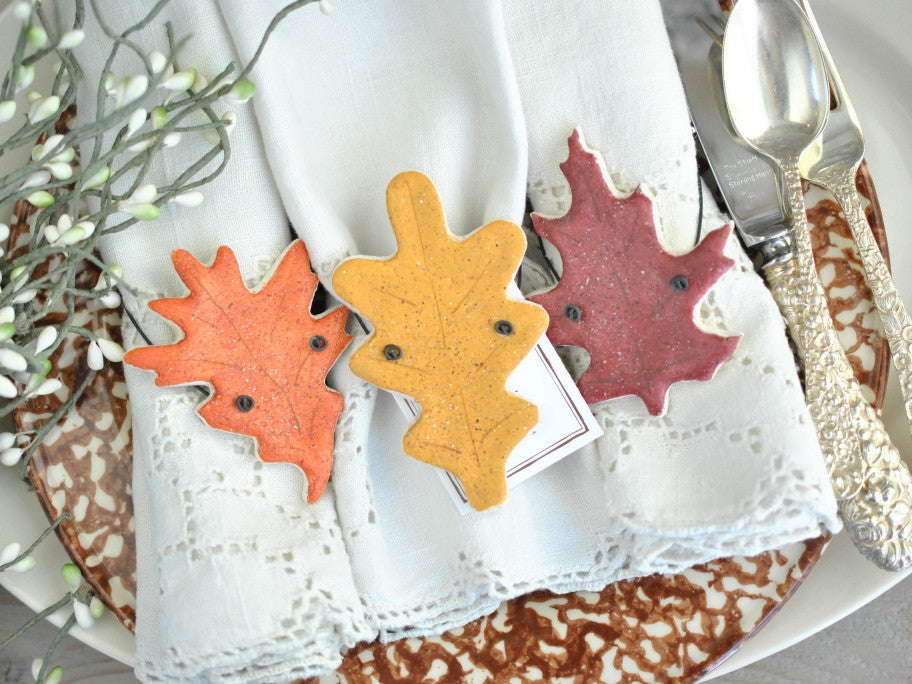 Wholesale Autumn Leaves Wedding Favors Set of 10 Salt Dough Ornaments