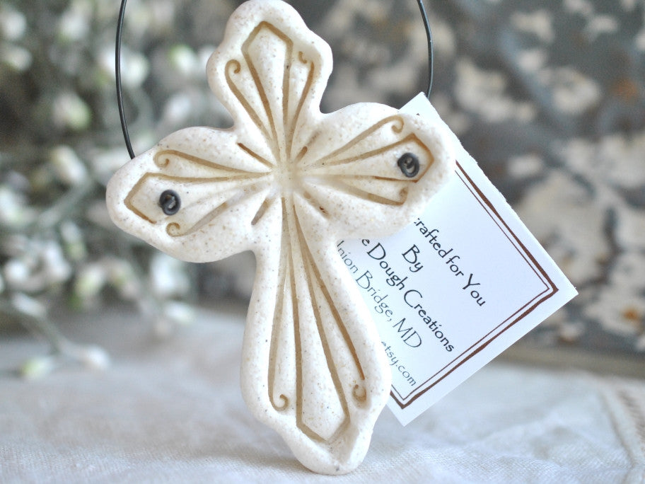 elegant salt dough imprinted cross ornament