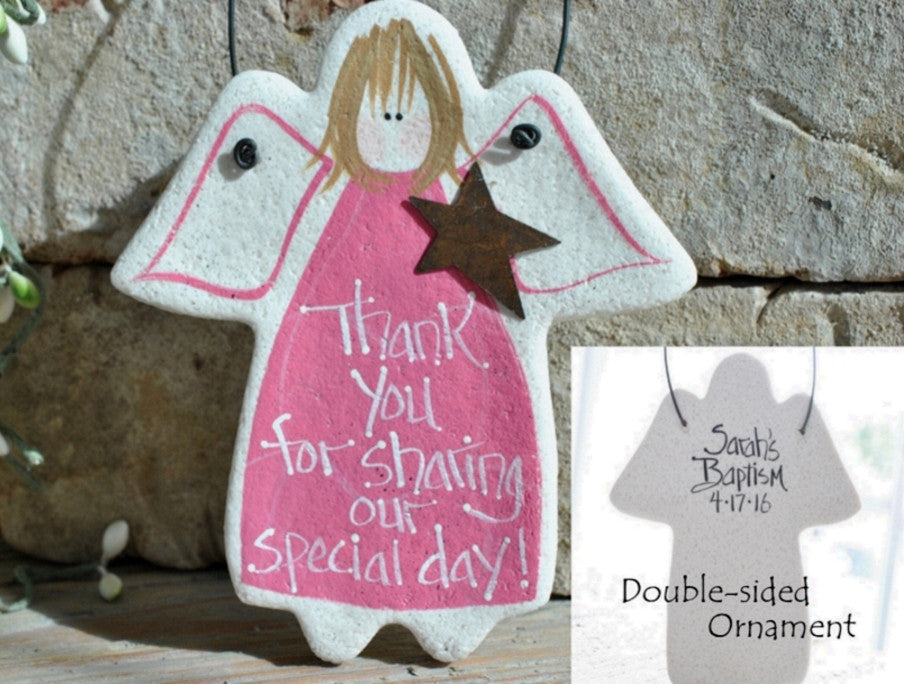 Baptism Favor Personalized Salt Dough Angel Ornament