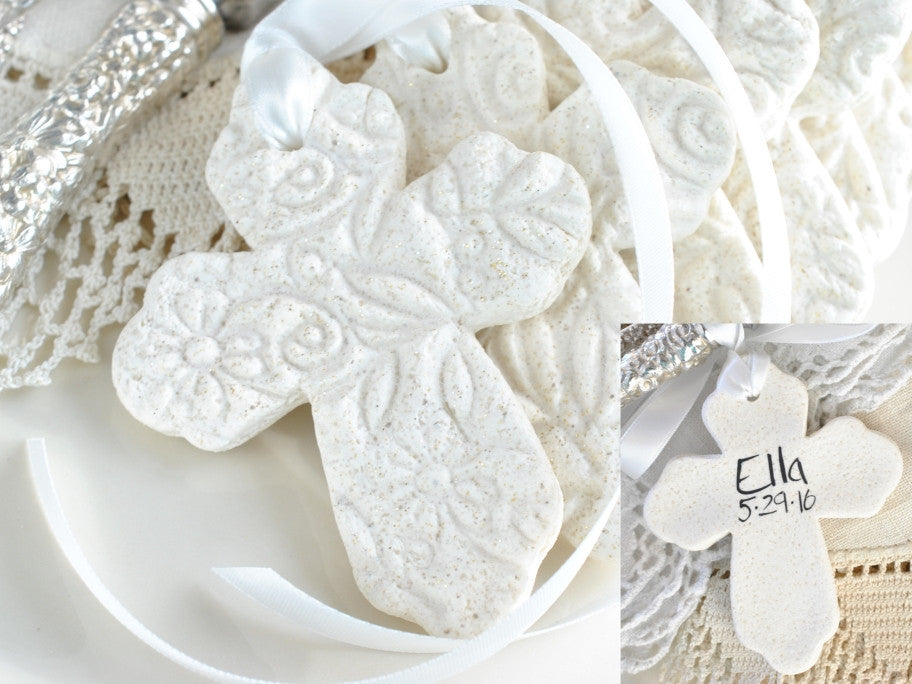 Set of 6 Personalized Imprinted Cross with Ribbon Baptism Favors Salt Dough Napkin Ring / Tie Ornaments
