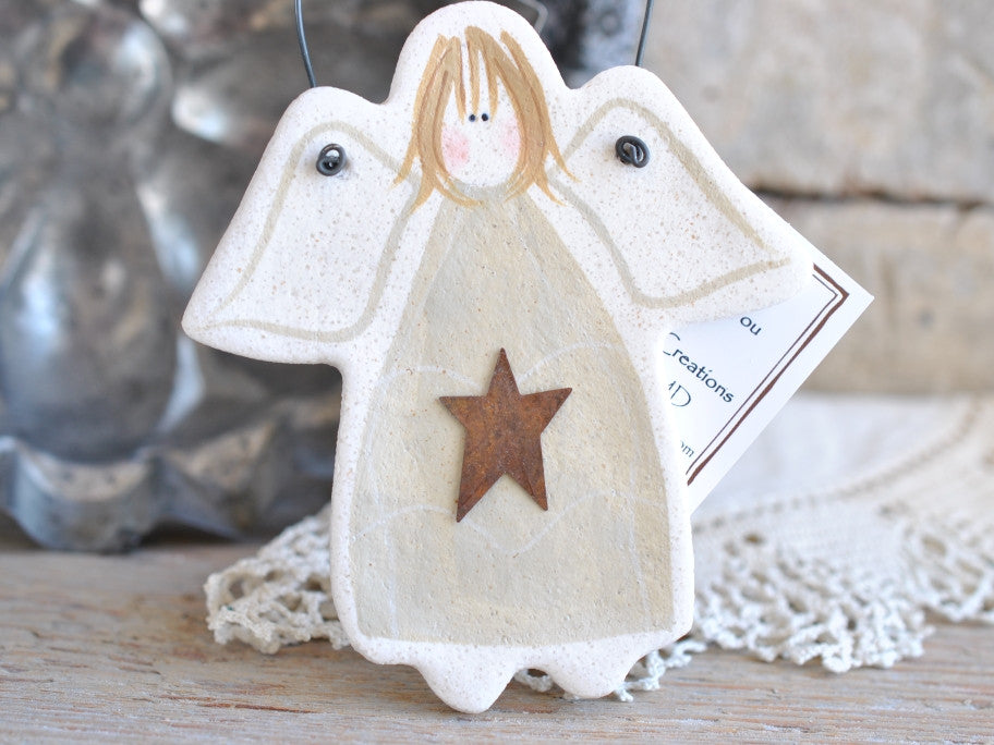 Baptism Communion Gift White Angel  Salt Dough Ornament