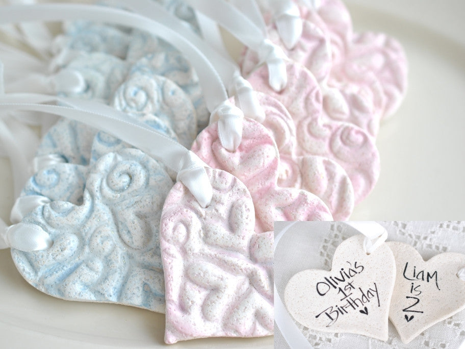 Personalized Imprinted Salt Dough Heart Ornaments Set of 10