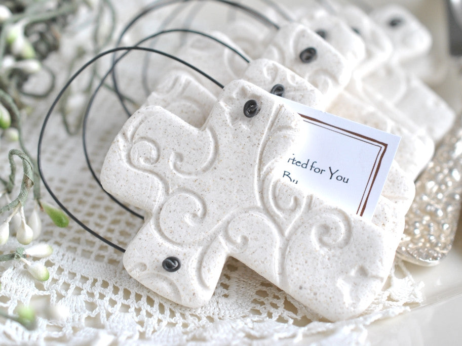 Imprinted Salt Dough Cross Ornament Wholesale Baptism / Wedding Favors Set of 6