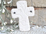 Personalized Baptism / Wedding Favors Set of 10 Salt Dough Cross Ornaments