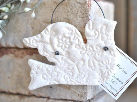 Imprinted Dove Wedding or Baptism Gift Salt Dough Ornament / Easter / Christening / Christmas Ornament