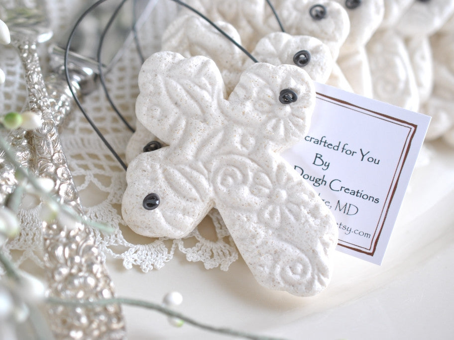 baptism favor, salt dough cross ornaments