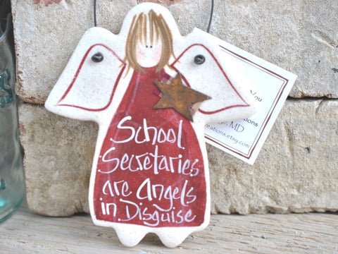 School Secretary Appreciation Thank You Gift Salt Dough Ornament