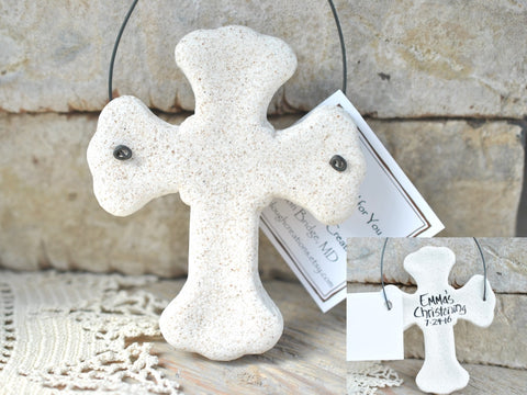 Catholic Cross Salt Dough Ornament Christmas / Memorial / Baptism
