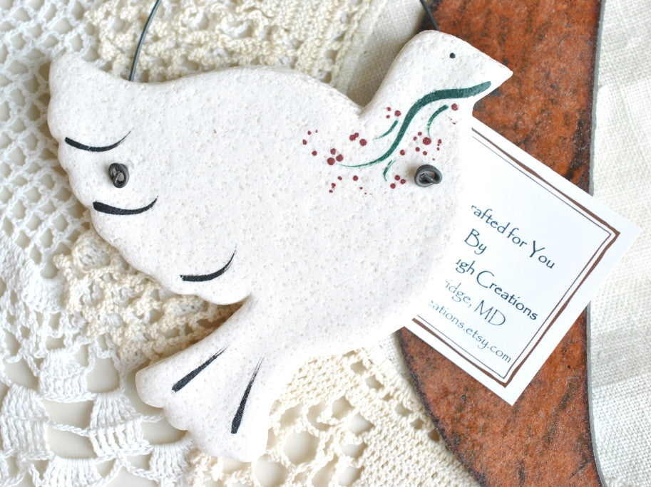 Dove Salt Dough Ornament Wedding / Baptism Personalized