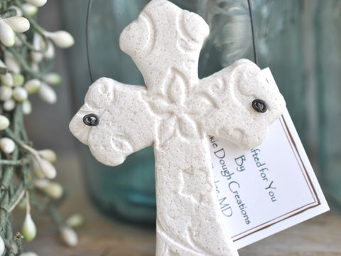 Christian Imprinted Design Cross Salt Dough Ornament Baptism Communion Gift