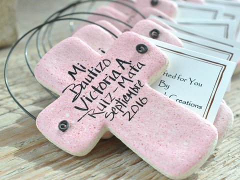 Baptism Favors Set of 10  Personalized Salt Dough Cross Ornaments