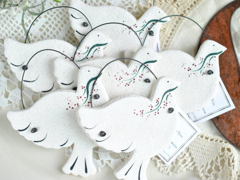 Dove Salt Dough Ornaments Wedding / Baptism Set of 6