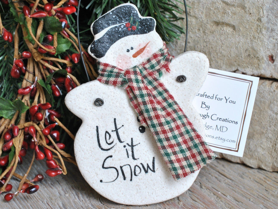 Snowman Salt Dough Christmas Ornament / Winter Wedding