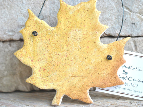 Yellow Maple Leaf Salt Dough Ornament