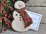 Primitive Snowman Cinnamon Salt Dough Ornament