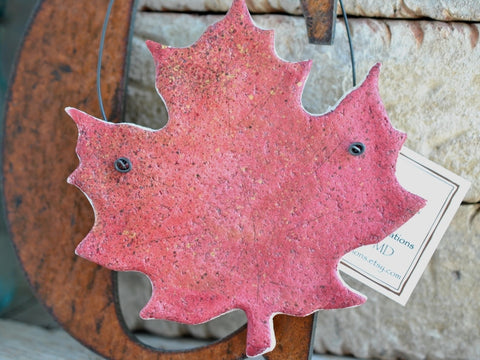 Red Maple Leaf Salt Dough Ornament