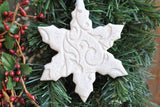 Snowflake Salt Dough Imprinted Christmas Ornament / Winter Wedding Favor