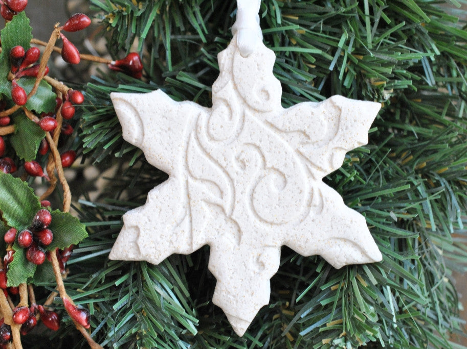 Snowflake Salt Dough Imprinted Christmas Ornament Winter Wedding