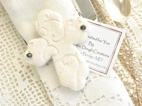 Baptism Favors Beautiful Imprinted Cross Set of 6 Wholesale Salt Dough Napkin Ring Ornaments