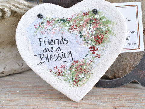 Gift for Friends Salt Dough Heart Friendship Gift Ornament