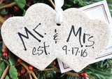Personalized Newlywed Mr. and Mrs. Heart Salt Dough Ornament