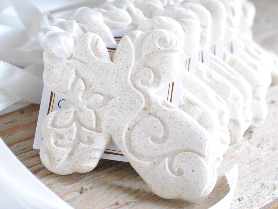 Imprinted Cross Baptism Favors with Ribbon Set of 6 Salt Dough Napkin Ring Ornaments