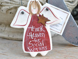 Social Worker gifts, salt dough ornaments, thank you social work