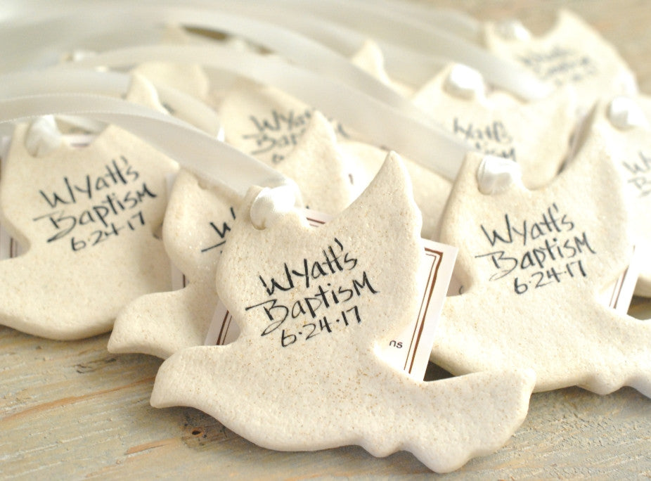 Personalized Wedding Baptism or Communion Favors Silhouette Doves Set of 10