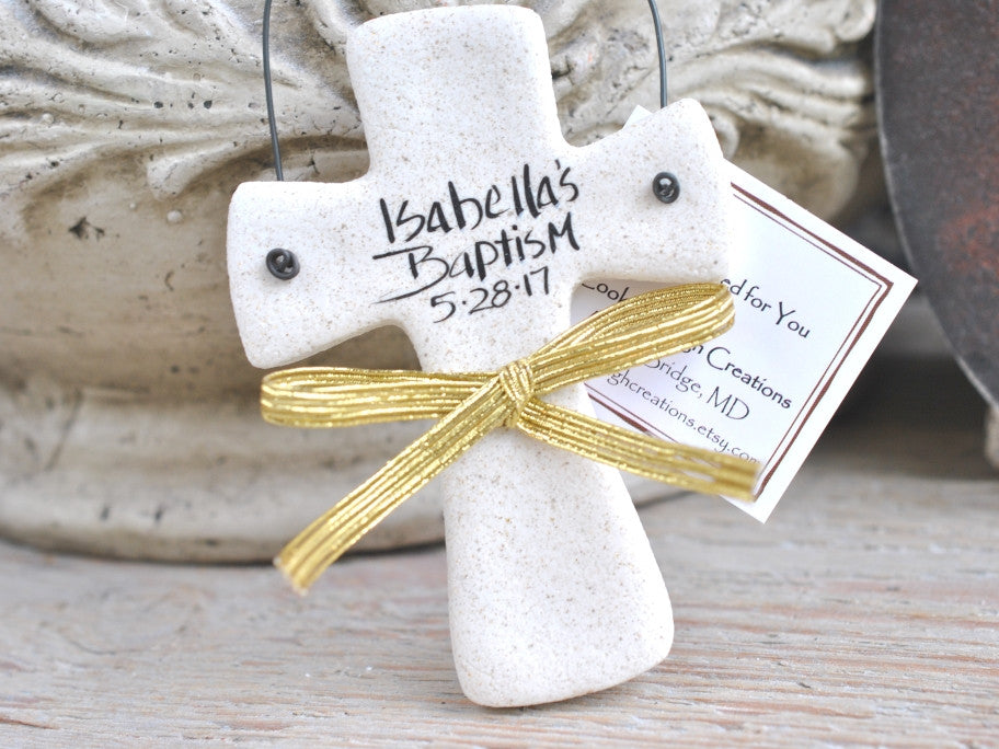 Personalized Cross Baptism Favor Personalized Salt Dough Ornament Christening Gift
