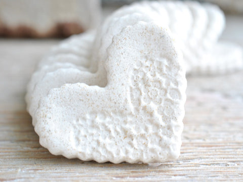 Imprinted Mini Salt Dough Heart Bridal Shower / Wedding Favors Set of 10