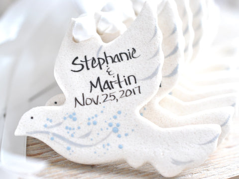 Dove Baptism or Wedding Favors Salt Dough Ornaments Set of 10