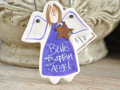 Baptism Gift Salt Dough Angel Ornament
