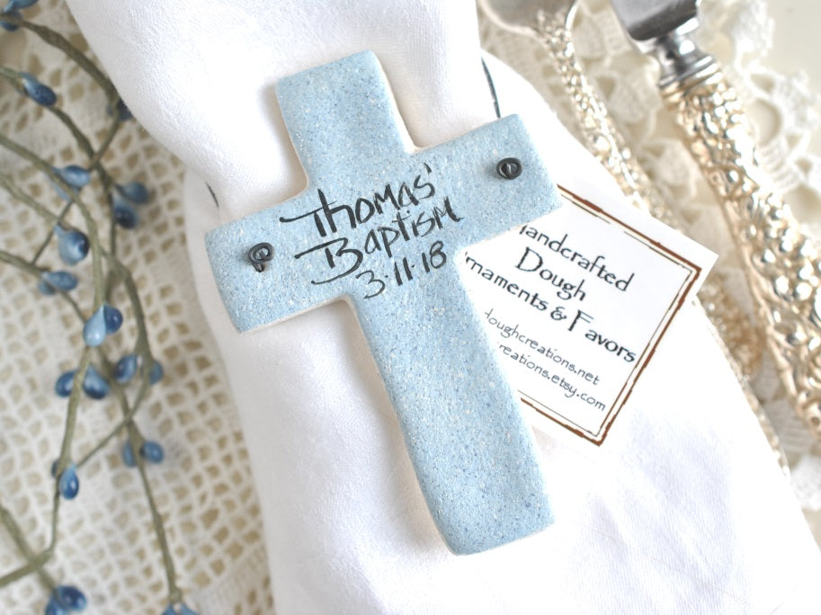 personalized baptism cross favors baptism gifts salt dough cross