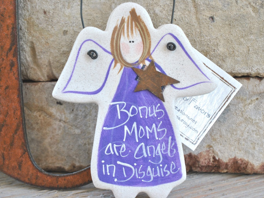 Small gift for Bonus mom, Stepmom, Mother-in-law, custom salt dough ornament