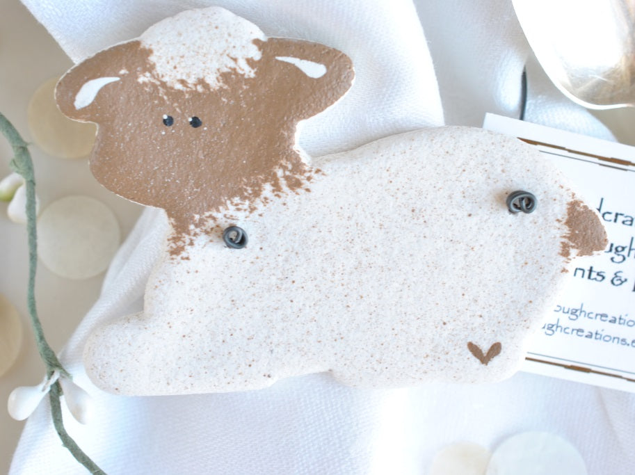 personalized lamb baptism favors or gifts salt dough lambs