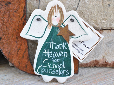 School Counselor Gift Salt Dough Angel Ornament