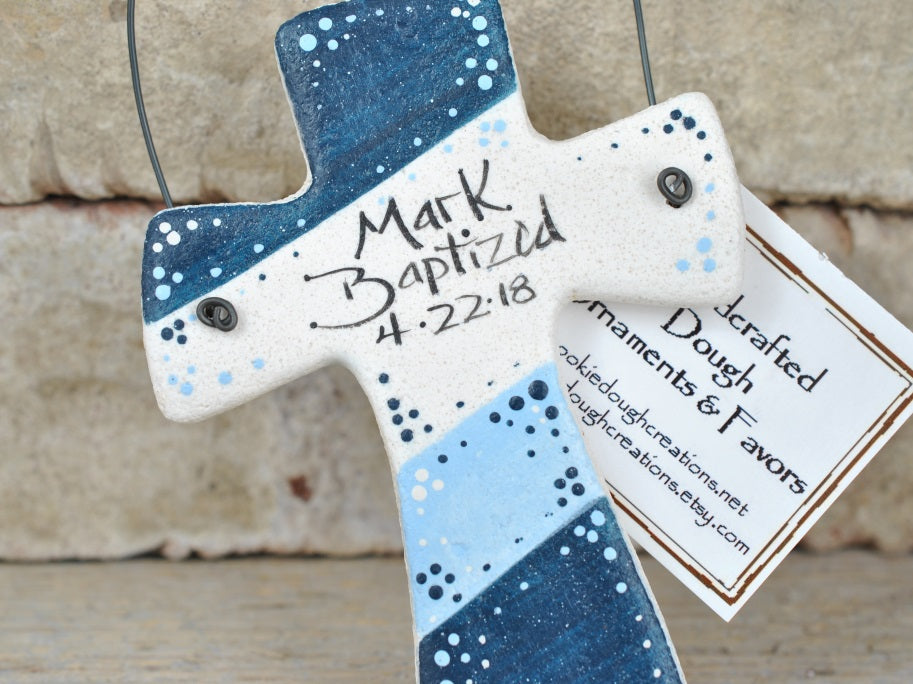 Baptism Gifts, personalized cross salt dough ornament, christening favor, baptism favors