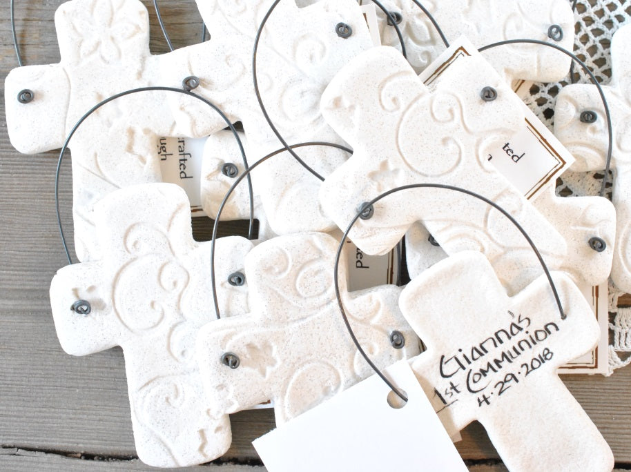 personalized first communion favors baptism favors cross salt dough ornaments