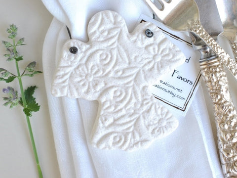 Angel Baptism Favors (10 pcs) Baby Shower or Christening Favors Salt Dough Napkin Ring Ornaments