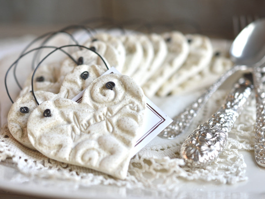Always napkin rings, wedding table decor, salt dough ornaments